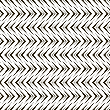 sized: Abstract seamless geometric black and white pattern of arrow shaped elements. Repeating different sized pointer-shaped figures. Endless graphic print. Vector illustration for various creative projects