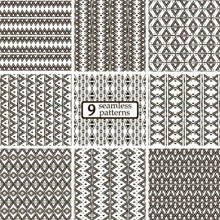 uneven edge: Set of 9 black and white seamless patterns with ethnic motifs. Graphic tribal prints with triangular elements. Cute abstract geometric ornaments. Vector illustration for fashion design Illustration