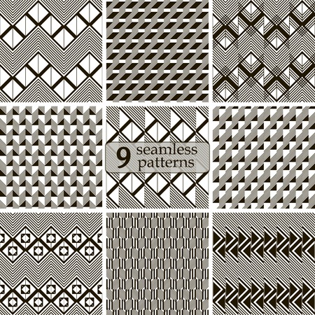 in flexed: Set of 9 black and white seamless patterns in modern style. Abstract geometric ornaments with zigzags, squares, triangles, diagonal lines. Vector illustration for stylish creative design Illustration