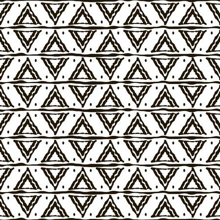 lineas horizontales: Modelo blanco y negro sin fisuras con motivos étnicos. rayas horizontales, formas y puntos triangulares. ornamento geométrico abstracto en el estilo de dibujo a mano. Ilustración del vector para el diseño moderno Vectores