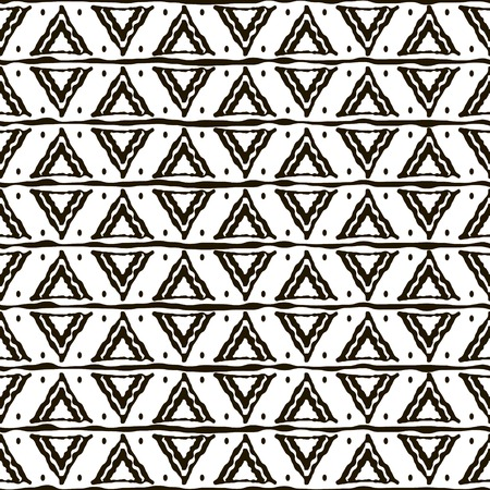 uneven edge: Seamless black and white pattern with ethnic motifs. Horizontal stripes, triangular shapes and dots. Abstract geometric ornament in hand drawing style. Vector illustration for modern design