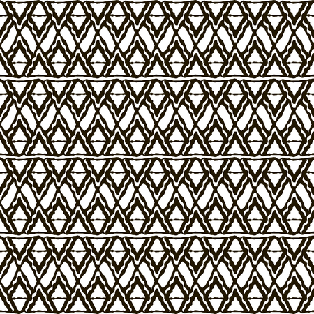 scaly: Seamless black and white pattern with ethnic motifs. Horizontal stripes, triangular and rhomboid shapes. Abstract scaly ornament in hand drawing style. Vector illustration for creative design