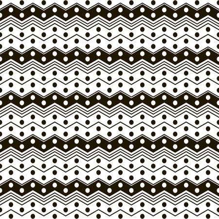 crankle: Abstract seamless pattern of horizontal zigzag stripes and circles. Black and white geometric print. Vector illustration for fabric, paper and other