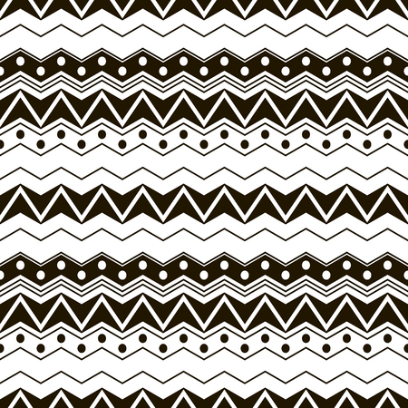 in flexed: Abstract seamless black and white pattern with ethnic motifs. Cute contrast graphic print of horizontal zigzags and circles. Vector illustration for fabric, paper and other