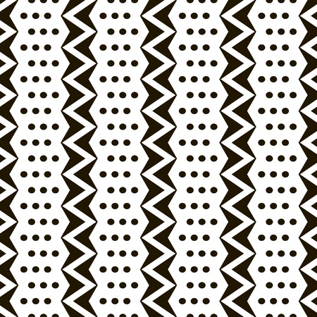 flexed: Abstract seamless black and white pattern of vertical zigzags with small circles. Simple contrast geometric print. Vector illustration for various creative projects Illustration