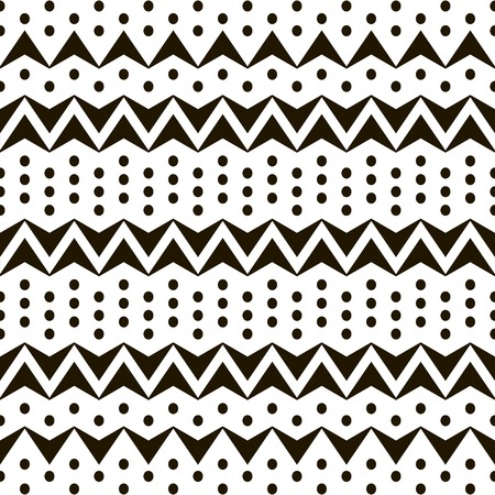 flexed: Abstract seamless black and white pattern of horizontal zigzags and dots.   Simple contrast geometric ornament. Vector illustration for fabric, paper and other