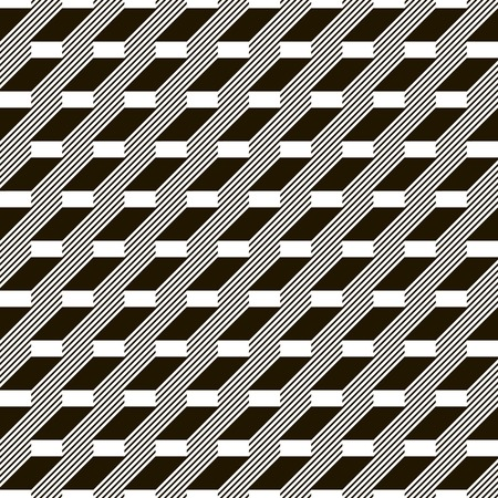 striated: Abstract seamless black and white pattern. Stair step located rectangles and diagonal lines. Monochrome geometric ornament.