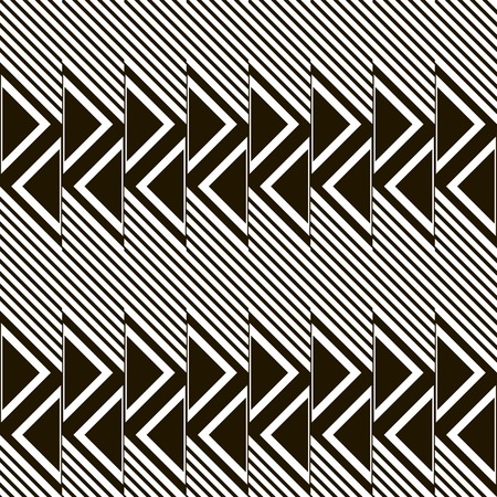 in flexed: Abstract seamless pattern of diagonal lines and triangles. Black and white geometric print in modern style. illustration for creative design