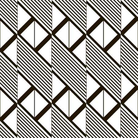 parallelogram: Abstract seamless black and white pattern. Parallelogram tiles filled with diagonal lines alternate with ones filled with triangles. Monochrome geometric print.