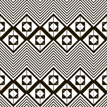 in flexed: Seamless black and white pattern of horizontal zig zag. Squares divided into two triangles, placed one inside another and giant zigzag with chevron lines.