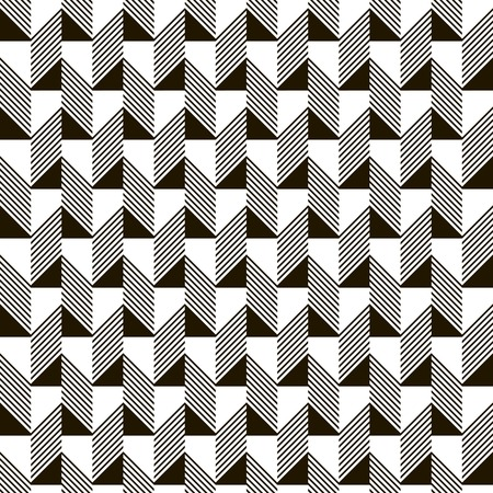 narrow: Abstract seamless black and white pattern. Narrow rectangular tiles with triangles and diagonal lines inside. Monochrome geometric ornament. illustration for various creative projects