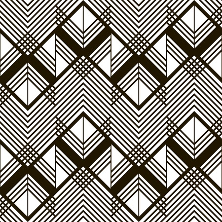 in flexed: Seamless geometric black and white pattern. Giant horizontal zigzag and lattice of intersecting chevron lines. Stylish modern graphic print. illustration for various creative projects