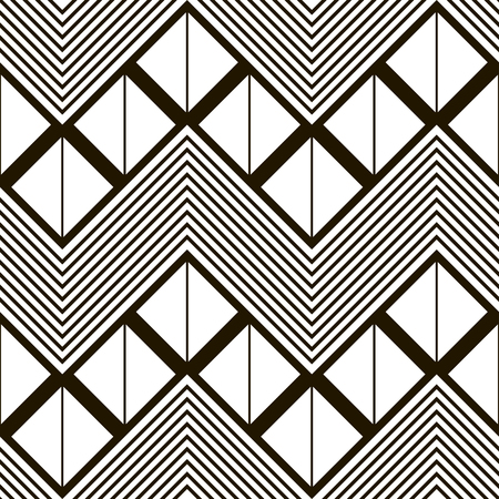 crankle: Seamless geometric black and white pattern of horizontal zig zag. Squares divided into two triangles inside giant zigzag and chevron lines. illustration for stylish creative design