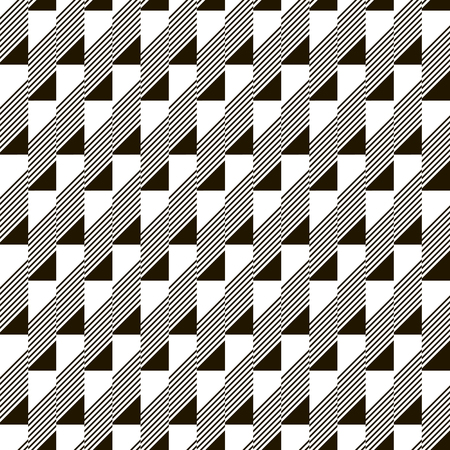 beveled corners: Abstract seamless black and white pattern. Narrow rectangular tiles with triangles and diagonal lines inside. Monochrome geometric ornament. illustration for various creative projects