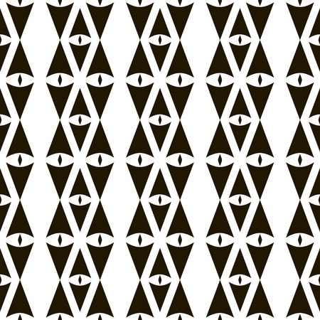 laconic: Abstract seamless pattern of sagittate and diamond-shaped elements. Geometric ornament with eye symbols. Laconic black and white print with tribal motifs. Vector illustration for creative design Illustration