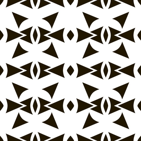 laconic: Abstract seamless pattern of sagittate, triangular, rhomboid elements. Laconic black and white print with ethnic motifs. Geometric tribal priest ornament. Vector illustration for creative design