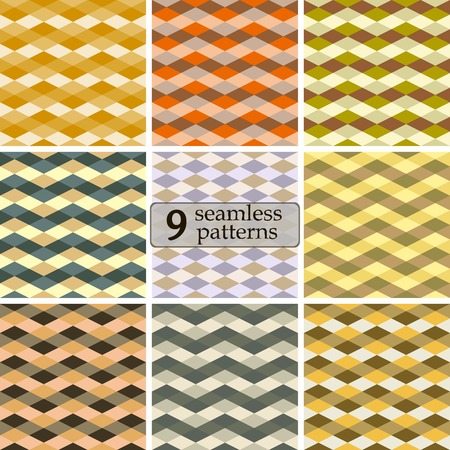Set of 9 seamless abstract geometric varicolored patterns. Elegant laconic ornaments of rhombuses. Classic sweater prints in preppy style. Vector illustration for fabric, paper and other