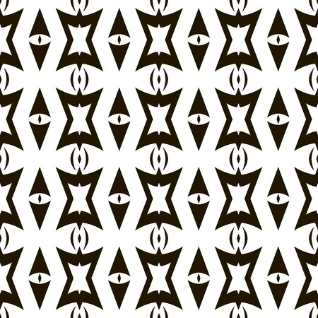parentheses: Abstract seamless geometric pattern. Black and white ornament with arrow shaped and polygonal figures. Vector illustration for stylish creative design