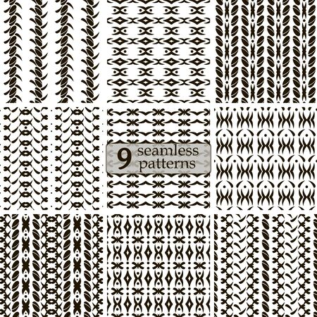 roundish: Set of 9 black and white seamless patterns. Abstract geometric ornaments with roundish elements and flourishes. Vector illustration for stylish creative design Illustration