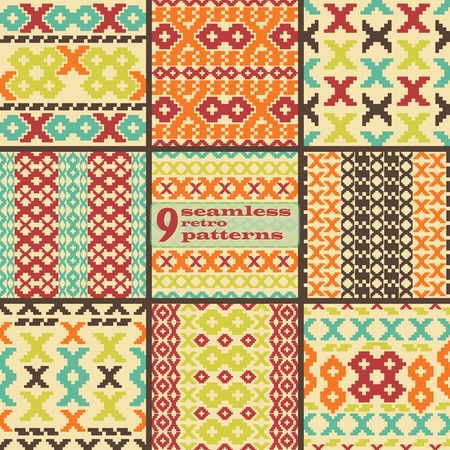 x country: Set of 9 seamless knitted retro patterns. Elegant geometric ornaments of stair step elements in folk style. Beautiful graphic prints in vintage colors. Vector illustration for fashion design Illustration