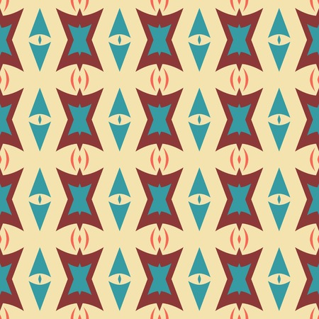 parentheses: Abstract seamless geometric pattern in retro style. Unusual ornament with arrow shaped and polygonal figures in vintage colors. Vector illustration for fabric, paper and other
