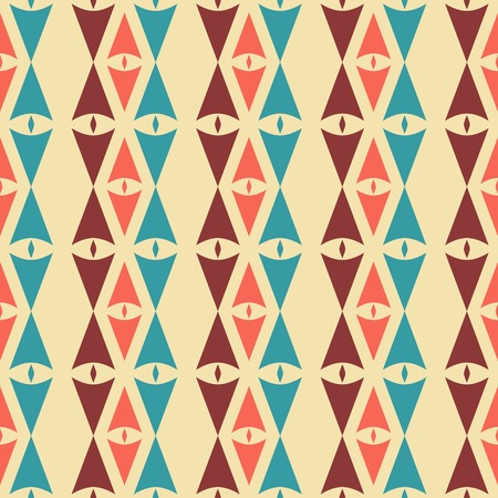 laconic: Abstract seamless pattern of sagittate and diamond-shaped elements in vintage colors. Laconic geometric retro ornament. Vector illustration for fabric, paper and other Illustration