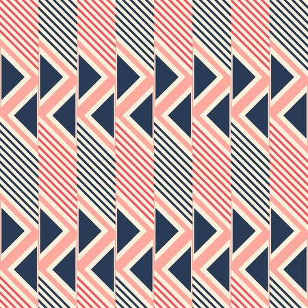 in flexed: Abstract seamless pattern of diagonal lines and triangles. Geometric print in pleasant retro color palette. Vector illustration for creative design