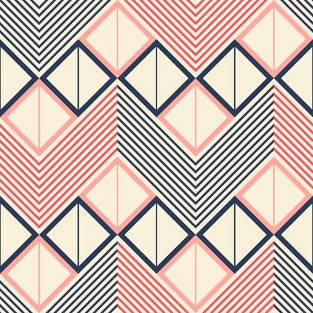 in flexed: Seamless geometric pattern of horizontal zigzag. Squares divided into two triangles inside giant zigzag and chevron lines. Pleasant retro color palette. Vector illustration for stylish creative design Illustration