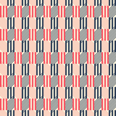parallelogram: Abstract seamless geometric pattern of triple sticks and diagonal lines. Graphic print in retro color palette. Vector illustration for fabric, paper and other