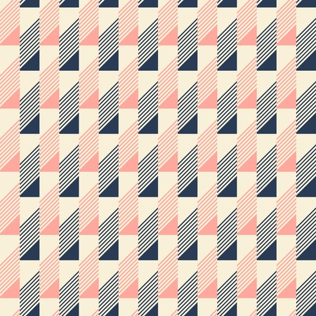 beveled corners: Abstract seamless pattern in pleasant retro color palette. Narrow rectangular tiles with triangles and diagonal lines inside. Vector illustration for fabric, paper and other