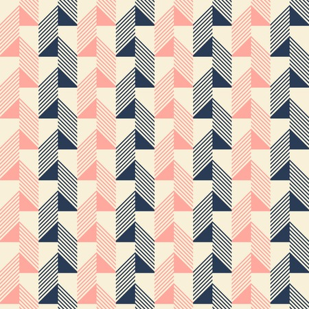 pleasant: Abstract seamless pattern in pleasant retro color palette. Narrow rectangular tiles with triangles and diagonal lines inside. Vector illustration for various creative projects