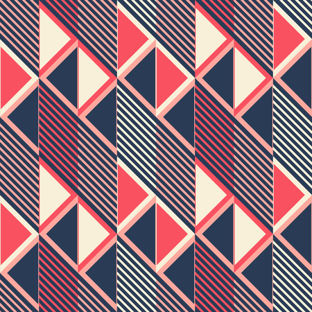 parallelogram: Abstract seamless pattern in retro colors. Parallelogram tiles filled with diagonal lines alternate with ones filled with triangles. Stylish geometric print. Vector illustration for modern design Illustration