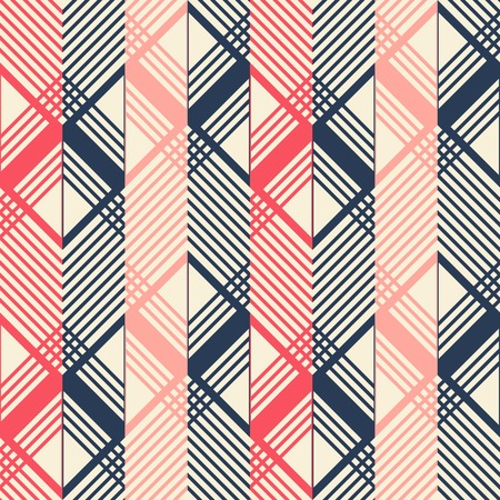 flexed: Seamless geometric pattern in pleasant retro color palette. Giant horizontal zigzag and lattice of intersecting chevron lines. Stylish print of wide multicolored vertical stripes Illustration