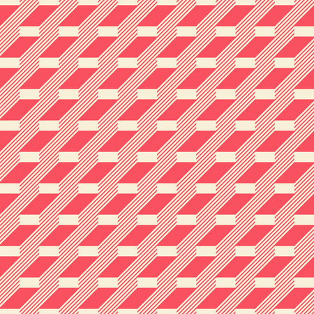 striated: Abstract seamless pattern in retro colors. Stair step located rectangles and diagonal lines. Vector illustration for fabric, paper and other