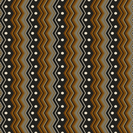 crankle: Abstract seamless pattern of vertical repeated zigzag lines and dots. Contrast geometric print in black, brown, orange, yellow colors. Vector illustration for creative design