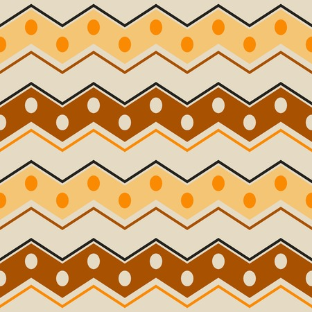 in flexed: Abstract seamless pattern with ethnic motifs. Wide horizontal zigzag stripes with circles in brown, orange, yellow, black colors. Contrast geometric print. Vector illustration for creative design