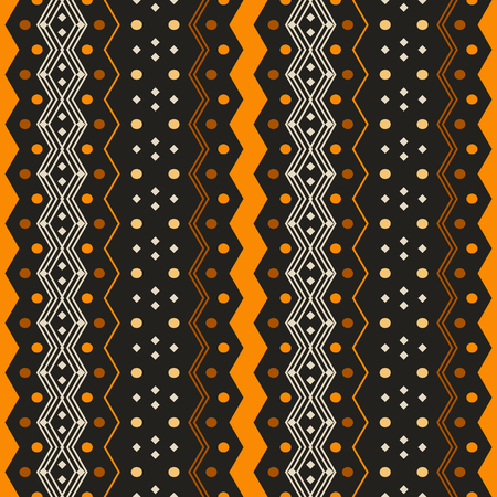 Seamless pattern with ethnic motifs. Vertical zigzags, circles and small squares. Contrast geometric print in black, brown, orange, yellow colors. Vector illustration for fabric, paper and other Иллюстрация