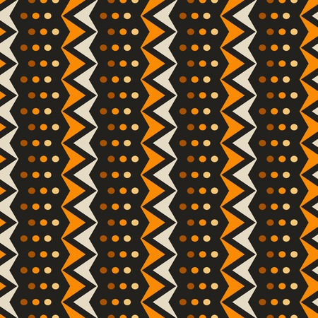 Abstract seamless pattern of vertical zigzags with small circles. Simple contrast geometric print in black, orange, brown, yellow colors. Vector illustration for fabric, paper and other
