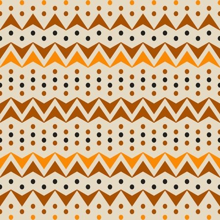 Abstract seamless pattern of horizontal zigzags and dots. Simple contrast geometric ornament in brown, orange, black colors. Vector illustration for fabric, paper and other