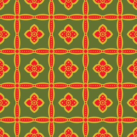 roundish: Seamless retro pattern with flowers in green, bright red, mustard colors. Elegant floral ornament in folk style. Vector illustration for fashion design Illustration
