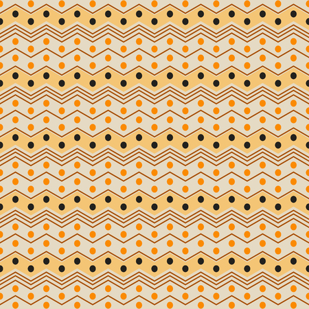 flexed: Abstract seamless pattern of horizontal zigzag stripes and circles. Geometric print with ethnic motifs in black, brown, orange, yellow colors. Vector illustration for fabric, paper and other