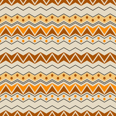 in flexed: Abstract seamless pattern with ethnic motifs. Graphic print of horizontal zigzags and circles in brown, orange, yellow, black colors. Vector illustration for fabric, paper and other