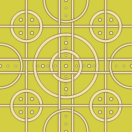 hoops: Abstract seamless pattern of intertwined stripes and hoops. Contrast geometric print with overlapping bands and circles. Vector illustration for stylish modern design