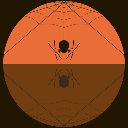 Fat spider spinning web. Drawing in black and orange colors. Mystical cute background. Vector illustration for various creative projects 向量圖像