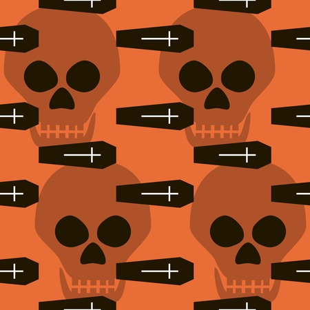 coffins: Seamless Halloween pattern of coffins, crosses and skulls. Eerie background in black, white and orange colors. Vector illustration for various creative projects Illustration