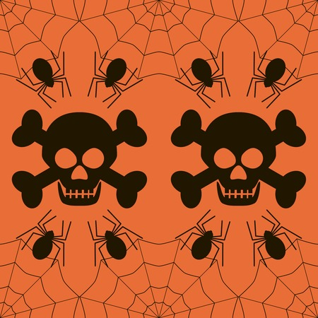 hellish: Seamless Halloween pattern of skulls with evil grin and crossbones, spiders in cobweb. Black and orange colors. Spooky background. Vector illustration for various creative projects Illustration