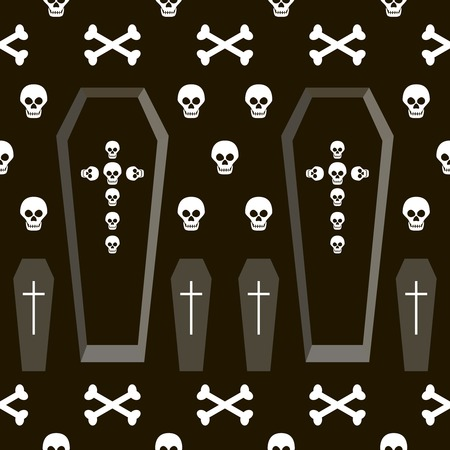 coffins: Seamless Halloween pattern of coffins and crosses shapes, skulls and bones. Gloomy eerie background in black, white and gray colors. Vector illustration for various creative projects Illustration