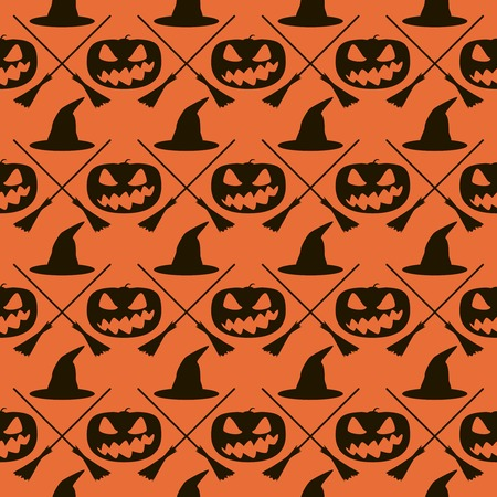 Seamless Halloween pattern of witch hats, crossed broomsticks and wickedly grinning evil pumpkins. Eerie background in black and orange colors. Vector illustration Illustration