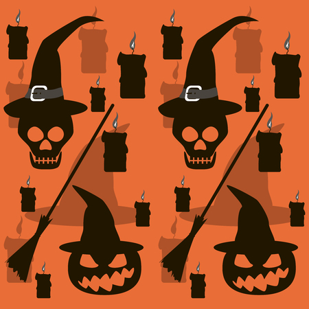 besom: Seamless Halloween pattern of broomsticks, burning candles, skulls and wickedly grinning evil pumpkins in witch hats. Eerie background in black, white, gray and orange colors. Vector illustration