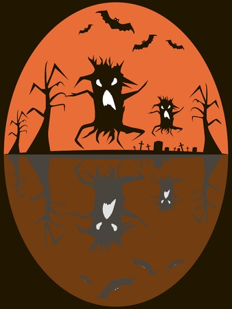 Old cemetery, graves with rickety crosses, dead trees with gnarled branches. Creepy demonic trees and flying bats with evil eyes. Spooky Halloween background. Vector illustration
